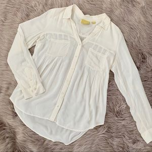 ANTHRO MAEVE | White Button Front Blouse